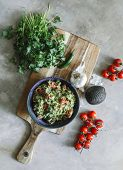 Homemade guacamole with cherry tomatoes food photography recipe idea poster