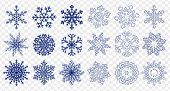 Set Of Different Handdrawn Flat And Linear Snowflakes Isolated On Transparent Background. Vector Ill poster