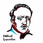 Mikhail Lermontov Engraved Vector Portrait With Ink Contours. Russian Romantic Writer, Poet And Pain poster