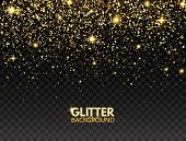 Glitter Background. Gold Glitter Particles Effect For Luxury Greeting Card. Sparkling Texture. Chris poster