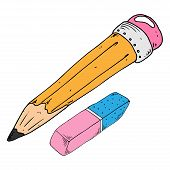 Pencil With Eraser. Vector Illustration Of Pencil And Eraser. Hand Drawn Simple Pencil With Eraser.  poster