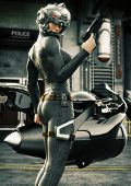 Science Fiction Female Police Officer Posing In Front Of Her Jet Bike ,wearing Helmet And Uniform Wi poster