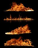 pic of ember  - High resolution fire collection of isolated flames on black background - JPG