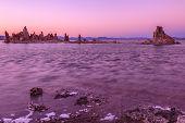 Mono Lake Stalagmites Of The Tufa. Scenic Landscape At Sunset. Spectacular Sedimentary Formations Al poster