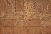 Solid Brick Floor. Orange Bricks Closeup. Weathered Grungy Brick Floor Photo Background. Grunge Text poster