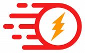 Electric Charge Icon With Fast Speed Effect In Red And Yellow Colors. Vector Illustration Designed F poster