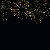 Firework Gold Sparkle Background Card. Beautiful Bright Fireworks Isolated On Black Background. Ligh poster