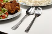 stock photo of fried chicken  - Chicken with rice - JPG