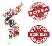 Disaster Collage Of Mosaic Map Of Korea And Scratched Seals. Vector Red Watermarks With Scratched Ru poster