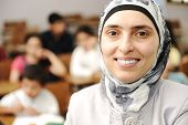 stock photo of muslim kids  - Muslim kids in the school - JPG
