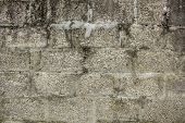 Old Brick Concrete Wall With A Rough Texture. Rough Surface. Dirty White Gray Masonry Wall poster