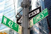 stock photo of intersection  - the intersection of 42nd street and Times Square in New York City - JPG