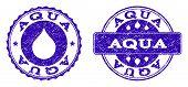 Grunge Aqua Stamp Seal Imprints. Aqua Text Inside Blue Distress Rubber Seals With Grunge Texture. Re poster