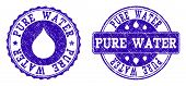 Grunge Pure Water Stamp Seal Watermarks. Pure Water Text Inside Blue Scratched Rubber Seals With Gru poster