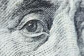 Dolar Usa Close Up. Macro Texture Of A Fragment Of The Dollar Bill. Usd Banknote Texture. One Hundre poster