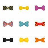 Elegant Bow Tie Icon Set. Flat Set Of 9 Elegant Bow Tie Icons For Web Design poster