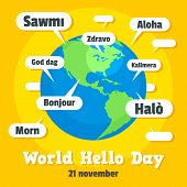 Global Hello Day Concept Background. Flat Illustration Of Global Hello Day Concept Background For We poster