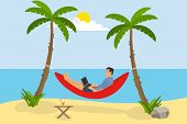 A Man Is Lying In A Hammock On The Beach. A Man With A Laptop Is In A Hammock And Does Work Against  poster
