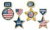 Veterans Day Logo Set. Realistic Illustration Of Veterans Day Logo Set For Web Design poster