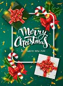 Christmas Green Design Vector Template. Calligraphic Merry Christmas Lettering Decorated. Christmas  poster