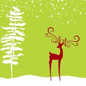picture of rudolf  - Christmas background with deer and fir in silhouette - JPG