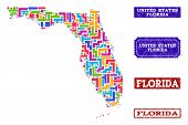 Mosaic Brick Style Map Of Florida State And Scratched Rectangle Stamps. Vector Map Of Florida State  poster