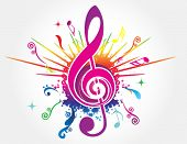pic of treble clef  - Colorful music background with fly clefs - JPG