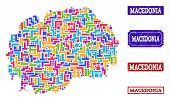 Mosaic Brick Style Map Of Macedonia And Scratched Rectangle Stamps. Vector Map Of Macedonia Construc poster