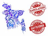 Business Contacts Composition Of Blue Mosaic Map Of Bangladesh And Scratched Seal Stamps. Vector Red poster