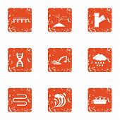 Personal House Icons Set. Grunge Set Of 9 Personal House Vector Icons For Web Isolated On White Back poster