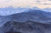 Beautiful Scenic Winter Mountain Landscape Of Lagonaki Mountain Region With Snowy Range Of Mountain  poster