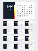 2019 Calendar Template Modern Simple Design For A Year, Business Design Element Can Be Used For Publ poster