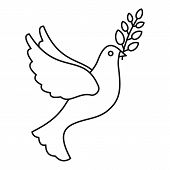 Peace Pigeon Icon. Outline Peace Pigeon Vector Icon For Web Design Isolated On White Background poster
