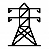 Electric Tower Icon. Outline Electric Tower Vector Icon For Web Design Isolated On White Background poster