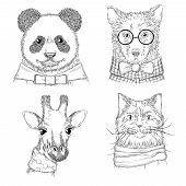 Hipster Animals. Fashion Adult Illustrations Wild Animals In Various Clothes Vector Hand Drawn Sketc poster