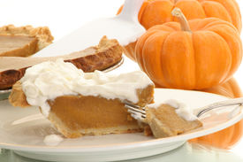 image of pumpkin pie  - piece of pumpkin pie ready to be eaten - JPG