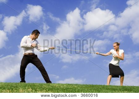 Tug Of War Business Concept For Rivalry