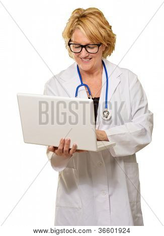 Happy Female Doctor Using Laptop On White Background
