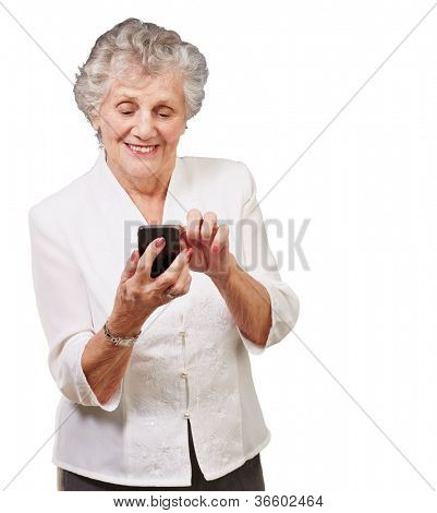 Senior woman using cellphone isolated on white background