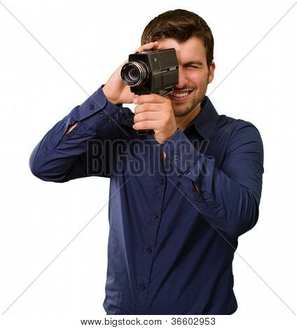 Young Man Holding Old Camera On White Background