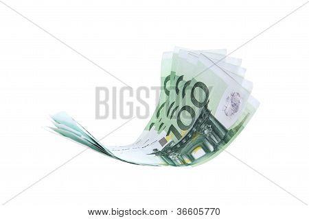 Flying Euro money note