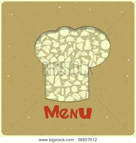 Vintage Menu Card Designs With Chefs Hat