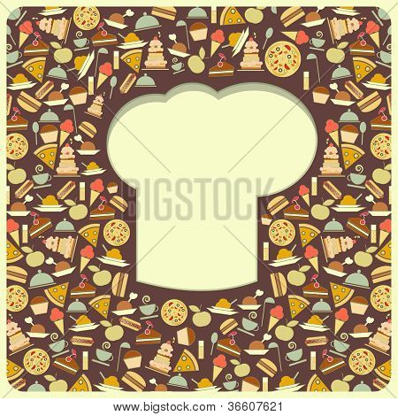 Retro Cover Menu With Chefs Hat