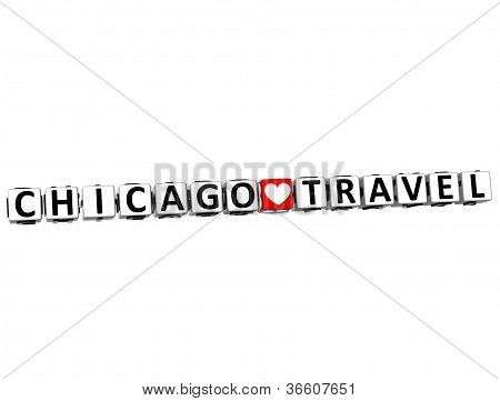3D Chicago Love Travel Button Click Here Block Text