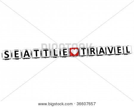 3D Seattle Love Travel Button Click Here Block Text