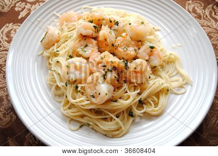 Delicious Shrimp Scampi on Spaghetti