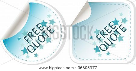 free quote blue sticker icon button sign. vector