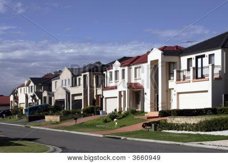 Suburban Street With Modern Houses