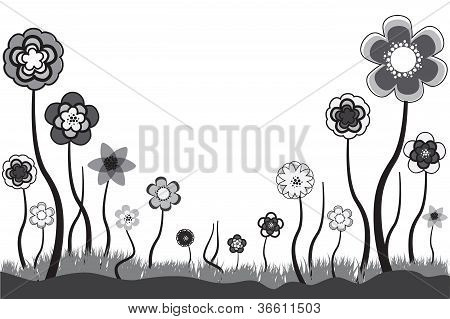 Beautiful Floral Illustration Of Seasonal Blooms In Summer Or Spring Time. These  Flowers Are In Ton