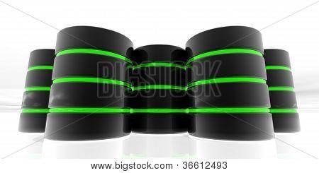 verde de servidores de datos 3D